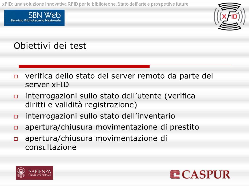 Obiettivi dei test verifica dello stato del server remoto da parte del server xFID interrogazioni sullo stato dellutente (verifica diritti e validità