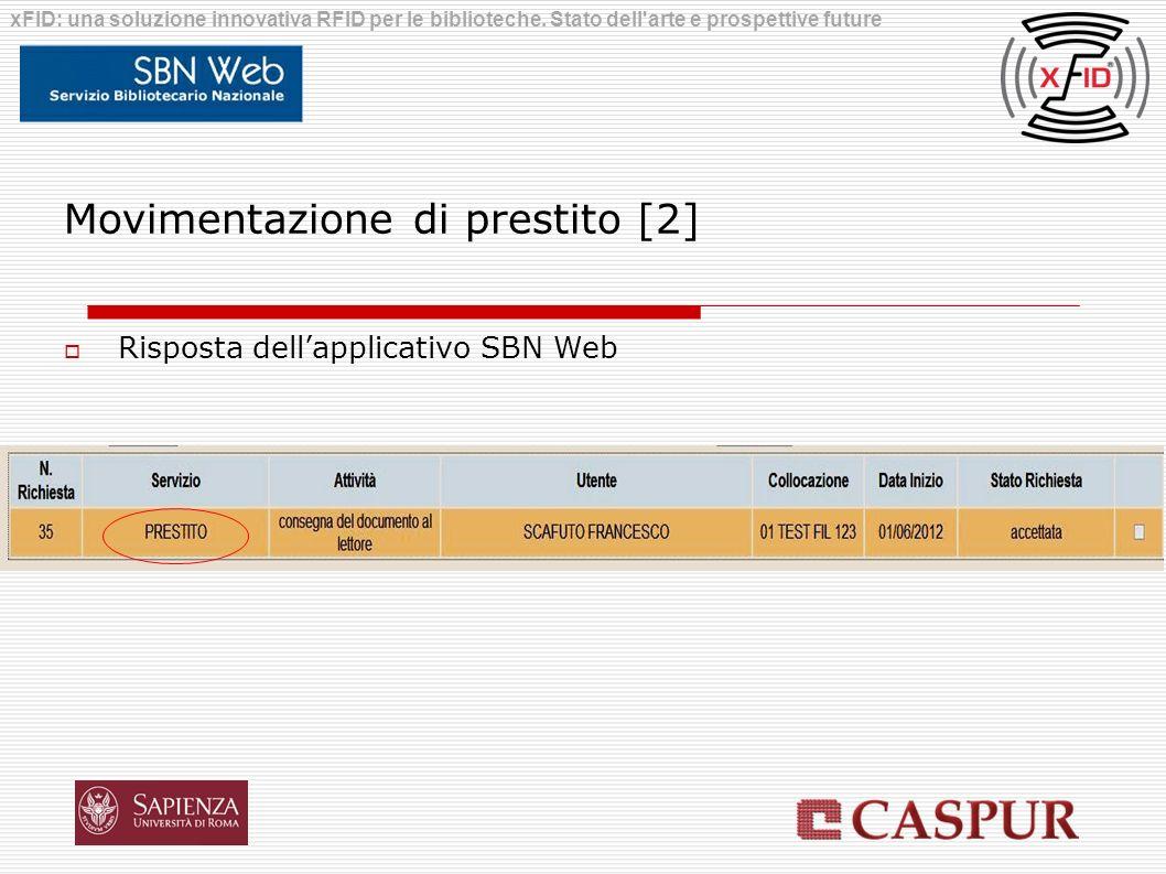 Movimentazione di prestito [2] Risposta dellapplicativo SBN Web xFID: una soluzione innovativa RFID per le biblioteche. Stato dell'arte e prospettive