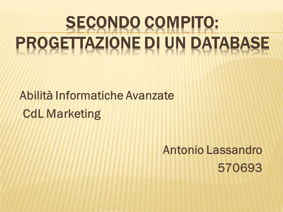 Abilità Informatiche Avanzate CdL Marketing Antonio Lassandro 570693