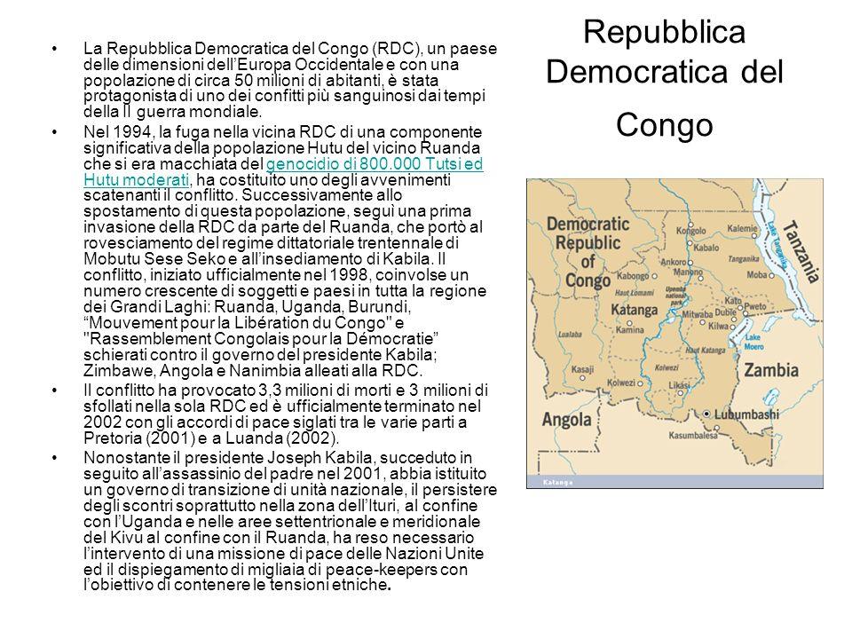 Repubblica Democratica del Congo La Repubblica Democratica del Congo (RDC), un paese delle dimensioni dellEuropa Occidentale e con una popolazione di