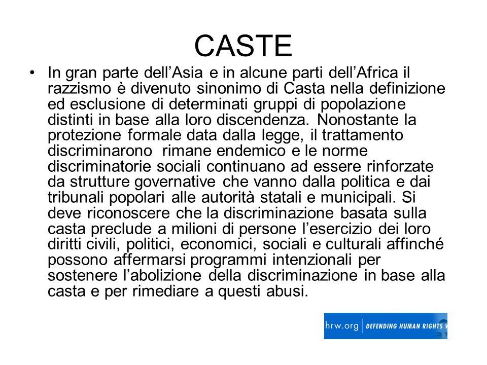 CASTE In gran parte dellAsia e in alcune parti dellAfrica il razzismo è divenuto sinonimo di Casta nella definizione ed esclusione di determinati grup