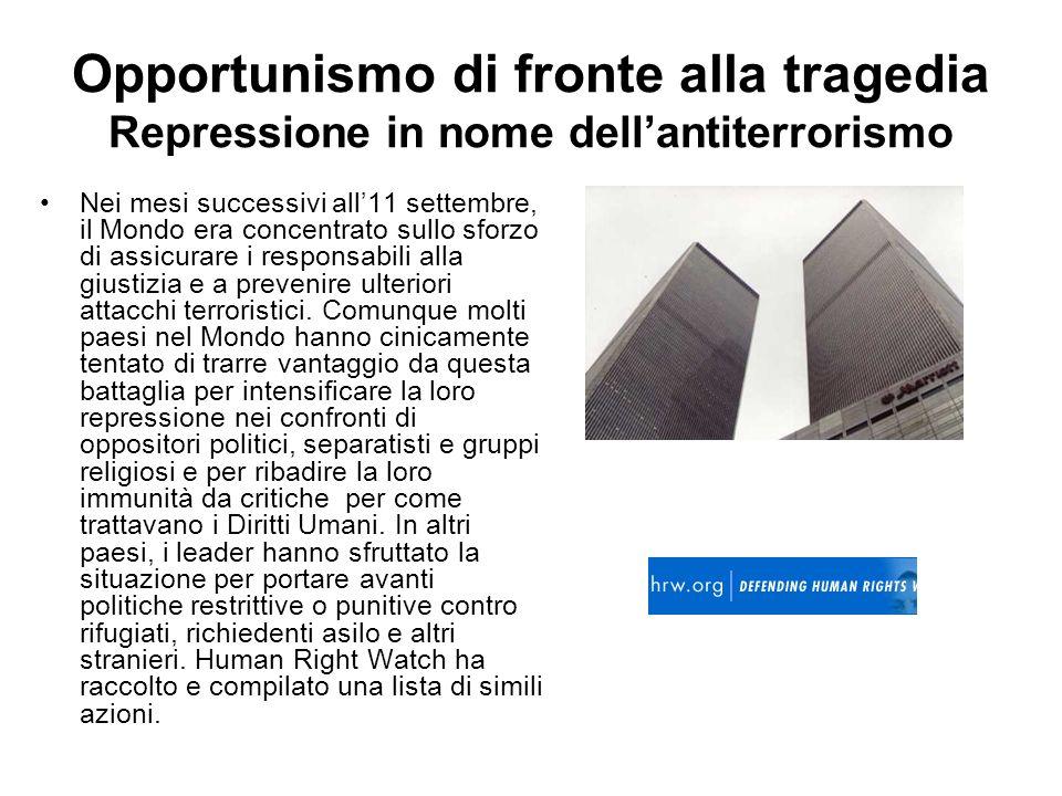 Opportunismo di fronte alla tragedia Repressione in nome dellantiterrorismo Nei mesi successivi all11 settembre, il Mondo era concentrato sullo sforzo