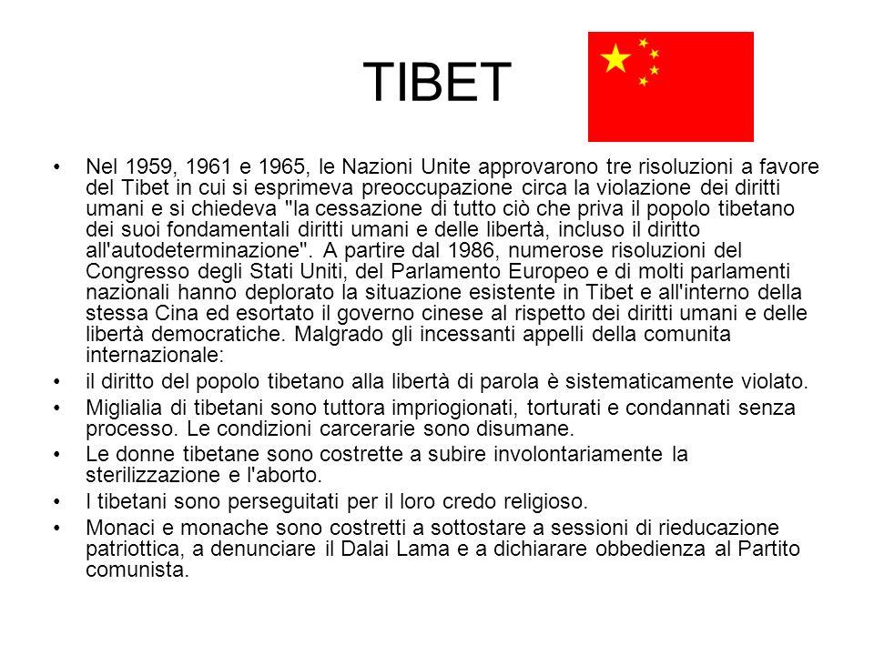 TIBET Nel 1959, 1961 e 1965, le Nazioni Unite approvarono tre risoluzioni a favore del Tibet in cui si esprimeva preoccupazione circa la violazione de