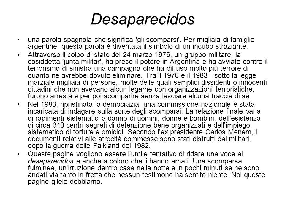 Desaparecidos una parola spagnola che significa 'gli scomparsi'. Per migliaia di famiglie argentine, questa parola è diventata il simbolo di un incubo