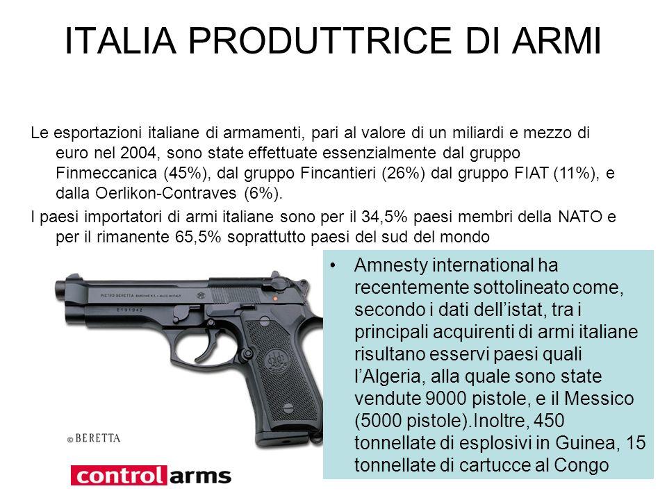 ITALIA PRODUTTRICE DI ARMI Le esportazioni italiane di armamenti, pari al valore di un miliardi e mezzo di euro nel 2004, sono state effettuate essenz