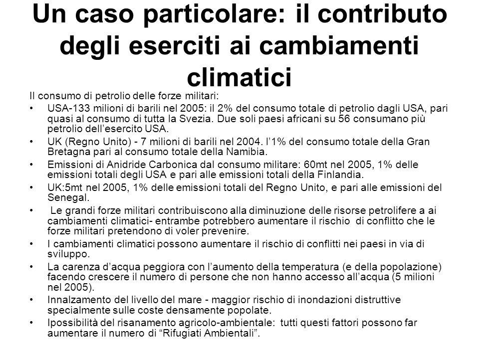 Un caso particolare: il contributo degli eserciti ai cambiamenti climatici Il consumo di petrolio delle forze militari: USA-133 milioni di barili nel