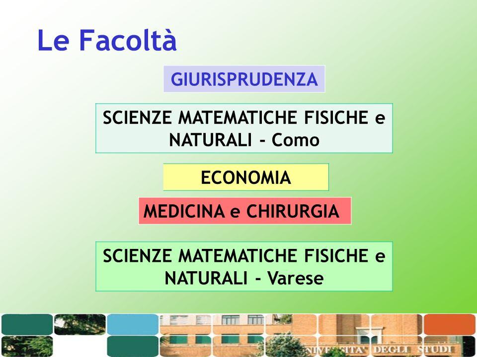 Le Facoltà GIURISPRUDENZA SCIENZE MATEMATICHE FISICHE e NATURALI - Como MEDICINA e CHIRURGIA SCIENZE MATEMATICHE FISICHE e NATURALI - Varese ECONOMIA