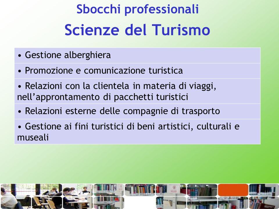 Scienze del Turismo Gestione alberghiera Promozione e comunicazione turistica Relazioni con la clientela in materia di viaggi, nellapprontamento di pa