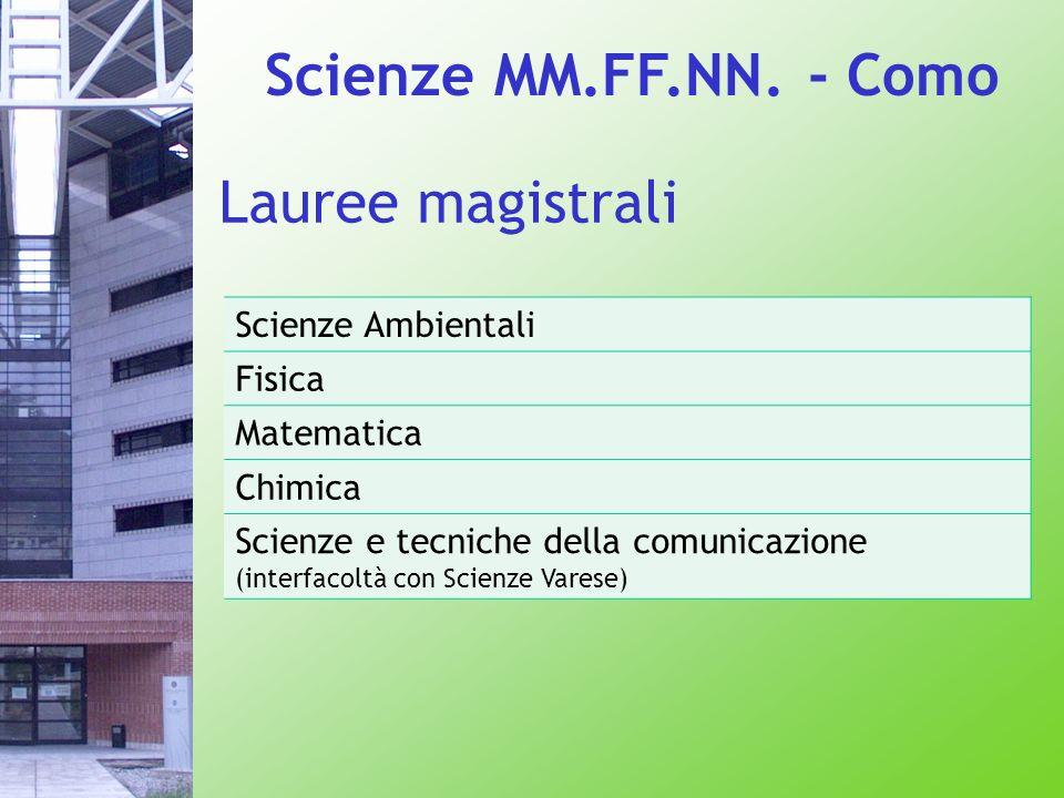 Scienze Ambientali Fisica Matematica Chimica Scienze e tecniche della comunicazione (interfacoltà con Scienze Varese) Lauree magistrali Scienze MM.FF.