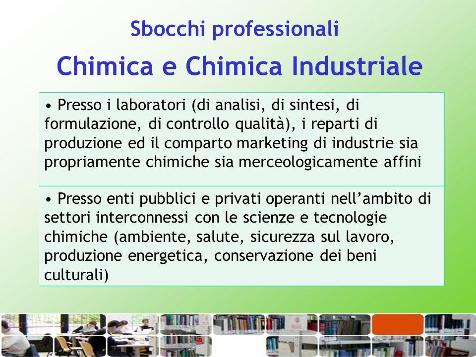 Chimica e Chimica Industriale Presso i laboratori (di analisi, di sintesi, di formulazione, di controllo qualità), i reparti di produzione ed il compa