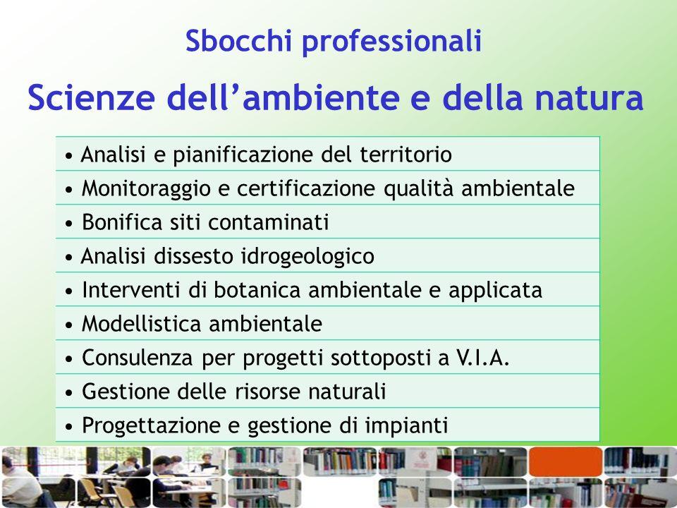 Scienze dellambiente e della natura Analisi e pianificazione del territorio Monitoraggio e certificazione qualità ambientale Bonifica siti contaminati