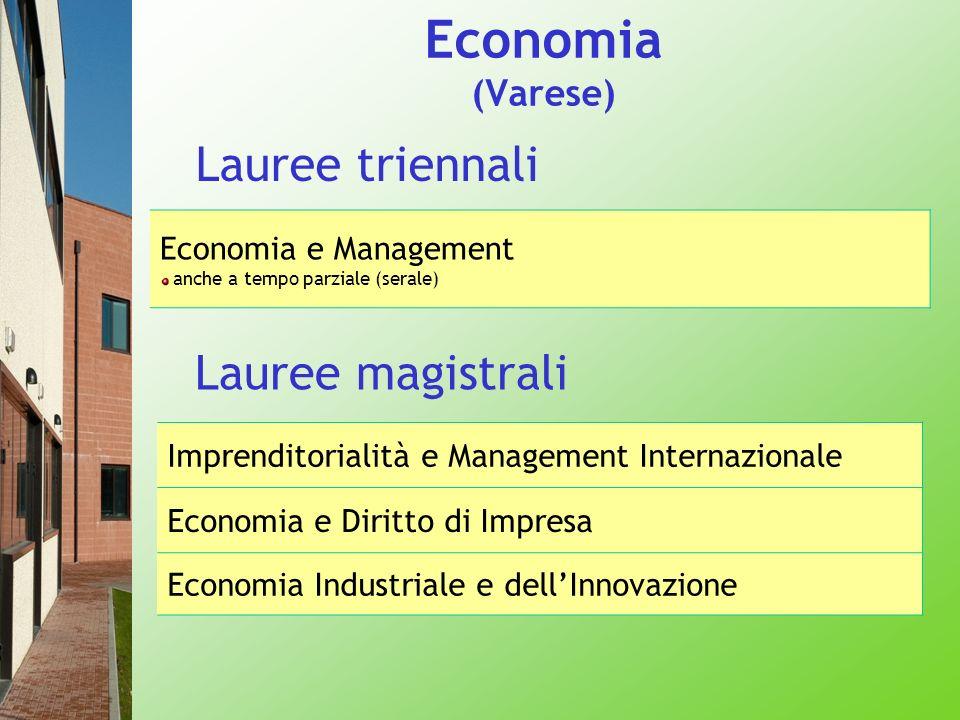 Economia (Varese) Lauree triennali Economia e Management anche a tempo parziale (serale) Imprenditorialità e Management Internazionale Economia e Diri