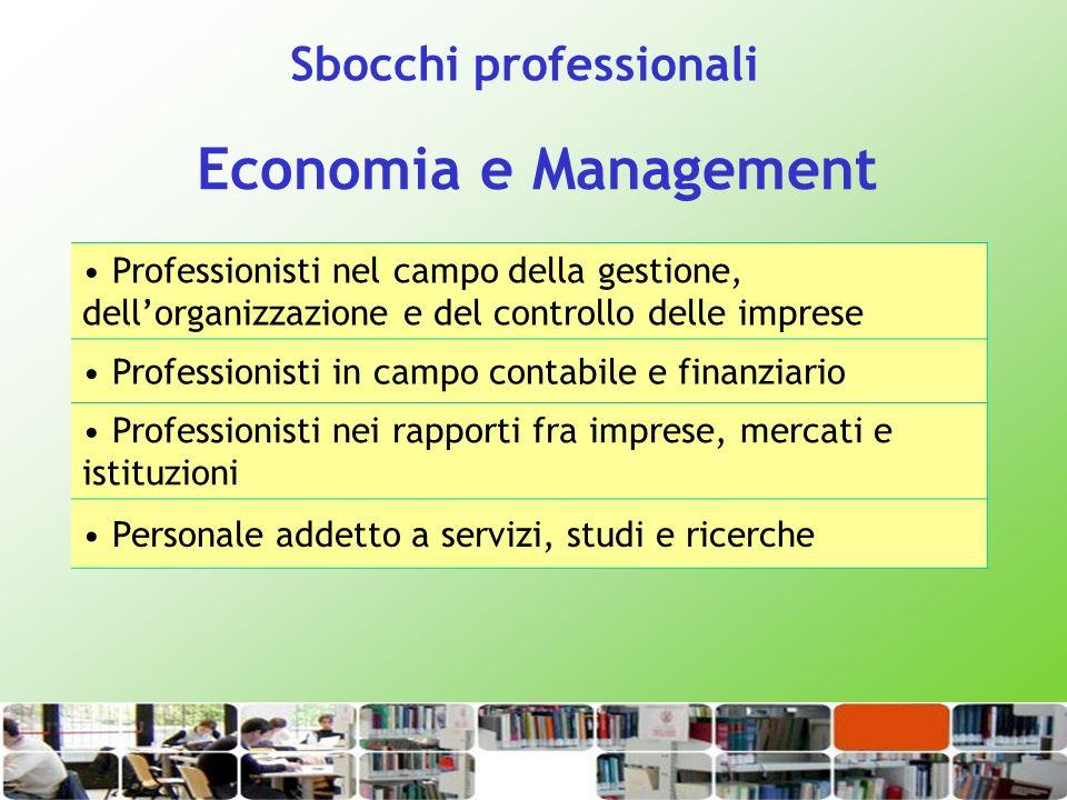 Economia e Management Professionisti nel campo della gestione, dellorganizzazione e del controllo delle imprese Professionisti in campo contabile e fi