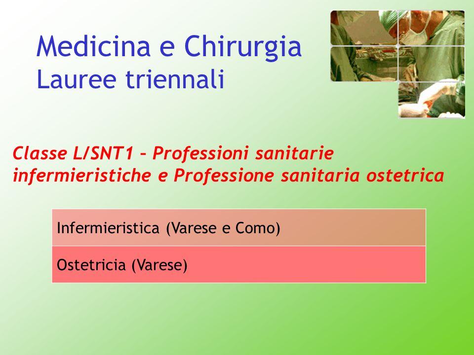 Medicina e Chirurgia Lauree triennali Classe L/SNT1 – Professioni sanitarie infermieristiche e Professione sanitaria ostetrica Infermieristica (Varese
