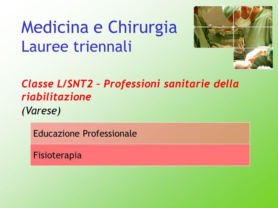 Medicina e Chirurgia Lauree triennali Classe L/SNT2 – Professioni sanitarie della riabilitazione (Varese) Educazione Professionale Fisioterapia