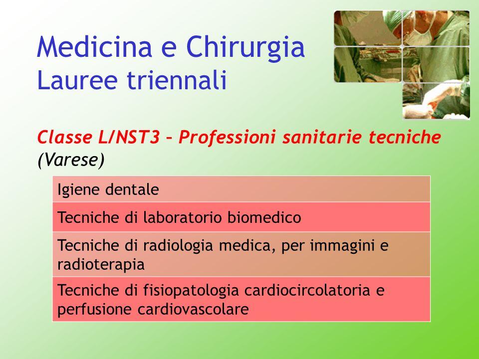 Medicina e Chirurgia Lauree triennali Classe L/NST3 – Professioni sanitarie tecniche (Varese) Igiene dentale Tecniche di laboratorio biomedico Tecnich