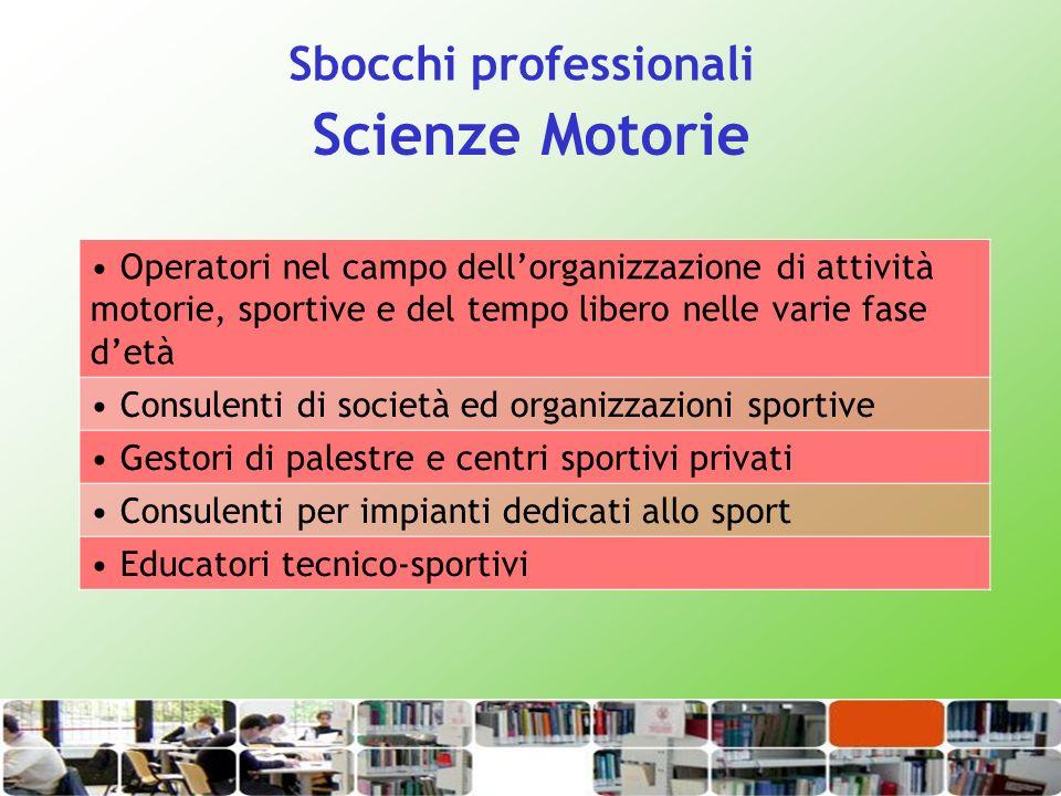 Scienze Motorie Operatori nel campo dellorganizzazione di attività motorie, sportive e del tempo libero nelle varie fase detà Consulenti di società ed