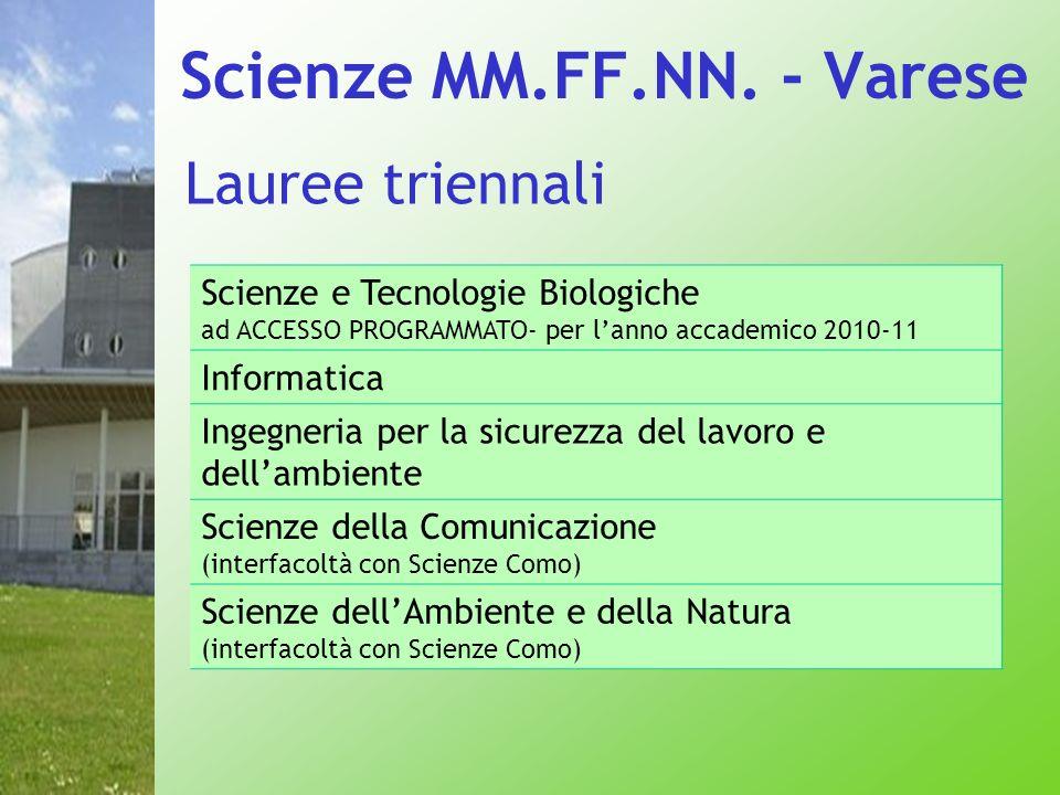 Lauree triennali Scienze e Tecnologie Biologiche ad ACCESSO PROGRAMMATO- per lanno accademico 2010-11 Informatica Ingegneria per la sicurezza del lavo