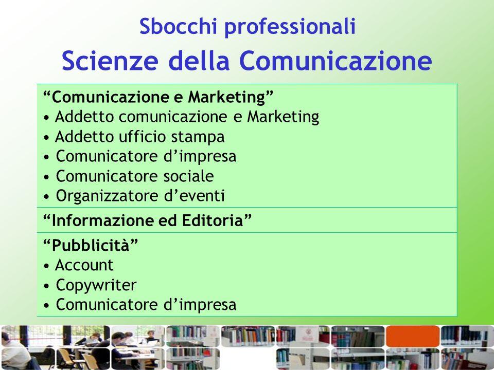 Scienze della Comunicazione Comunicazione e Marketing Addetto comunicazione e Marketing Addetto ufficio stampa Comunicatore dimpresa Comunicatore soci