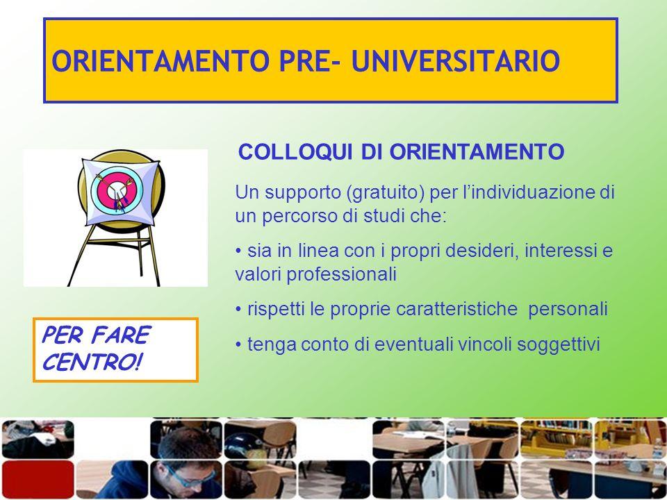 ORIENTAMENTO PRE- UNIVERSITARIO COLLOQUI DI ORIENTAMENTO Un supporto (gratuito) per lindividuazione di un percorso di studi che: sia in linea con i pr
