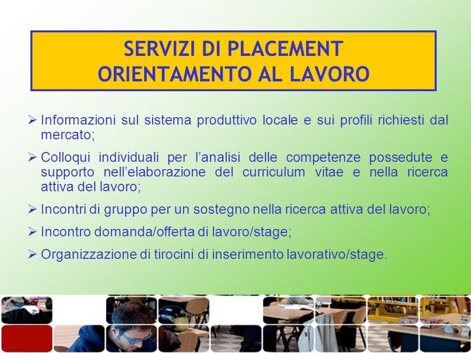 SERVIZI DI PLACEMENT ORIENTAMENTO AL LAVORO Informazioni sul sistema produttivo locale e sui profili richiesti dal mercato; Colloqui individuali per l