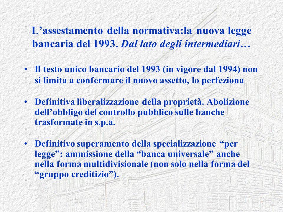 Lassestamento della normativa:la nuova legge bancaria del 1993. Dal lato degli intermediari… Il testo unico bancario del 1993 (in vigore dal 1994) non