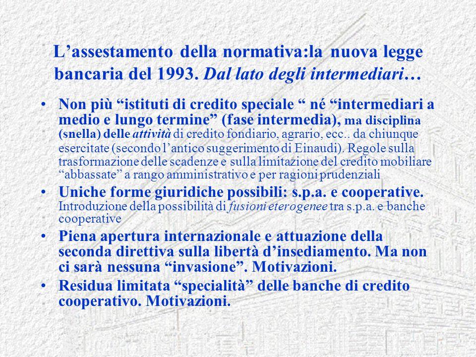 Lassestamento della normativa:la nuova legge bancaria del 1993. Dal lato degli intermediari… Non più istituti di credito speciale né intermediari a me
