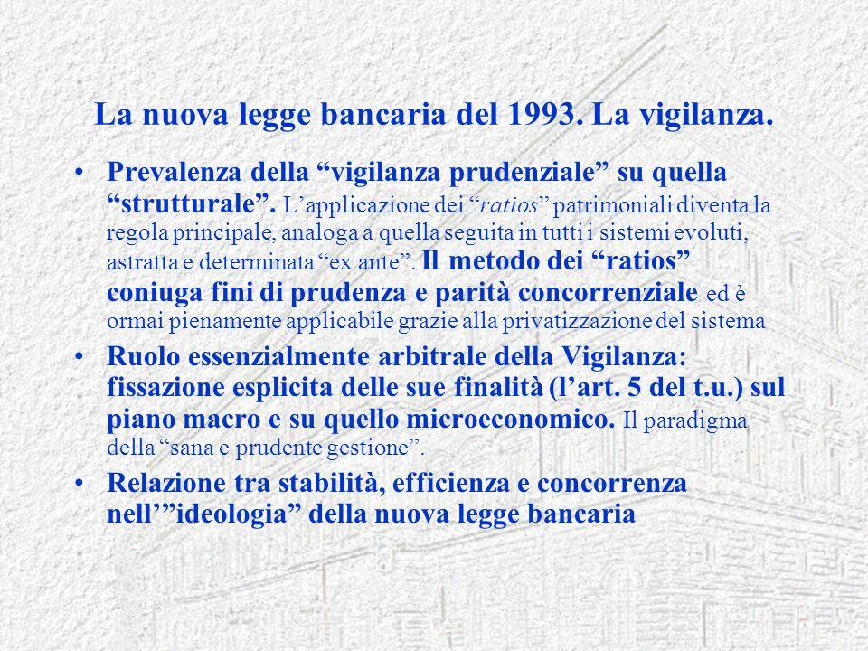 La nuova legge bancaria del 1993. La vigilanza. Prevalenza della vigilanza prudenziale su quella strutturale. Lapplicazione dei ratios patrimoniali di