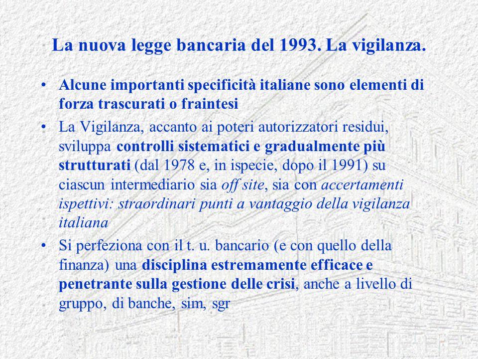 La nuova legge bancaria del 1993. La vigilanza. Alcune importanti specificità italiane sono elementi di forza trascurati o fraintesi La Vigilanza, acc