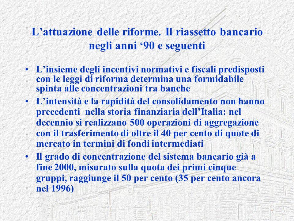 Lattuazione delle riforme. Il riassetto bancario negli anni 90 e seguenti Linsieme degli incentivi normativi e fiscali predisposti con le leggi di rif