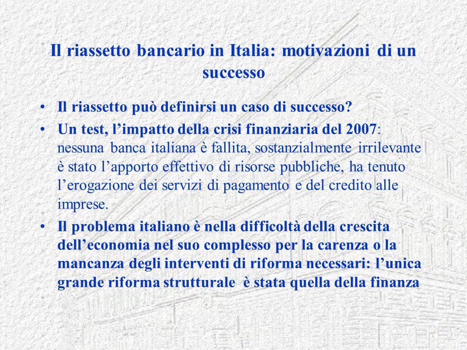 Il riassetto bancario in Italia: motivazioni di un successo Il riassetto può definirsi un caso di successo? Un test, limpatto della crisi finanziaria