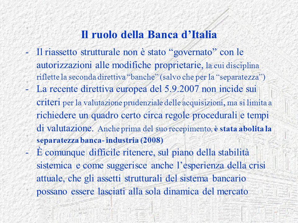 Il ruolo della Banca dItalia -Il riassetto strutturale non è stato governato con le autorizzazioni alle modifiche proprietarie, la cui disciplina rifl