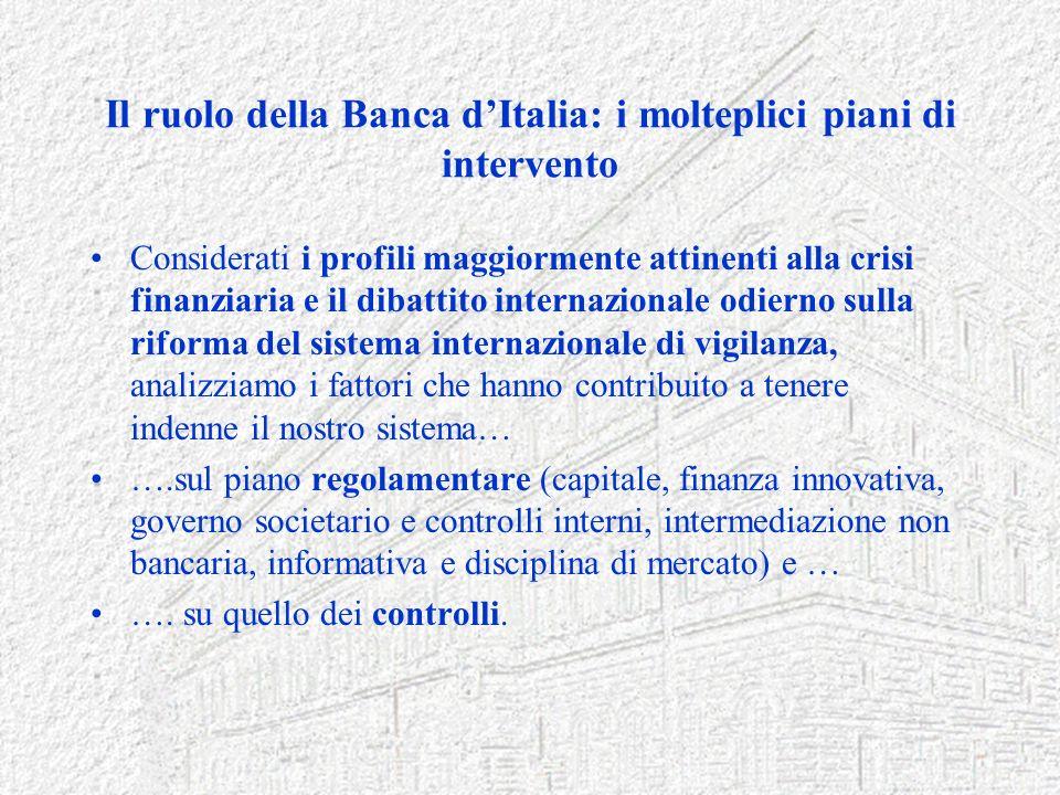 Il ruolo della Banca dItalia: i molteplici piani di intervento Considerati i profili maggiormente attinenti alla crisi finanziaria e il dibattito inte