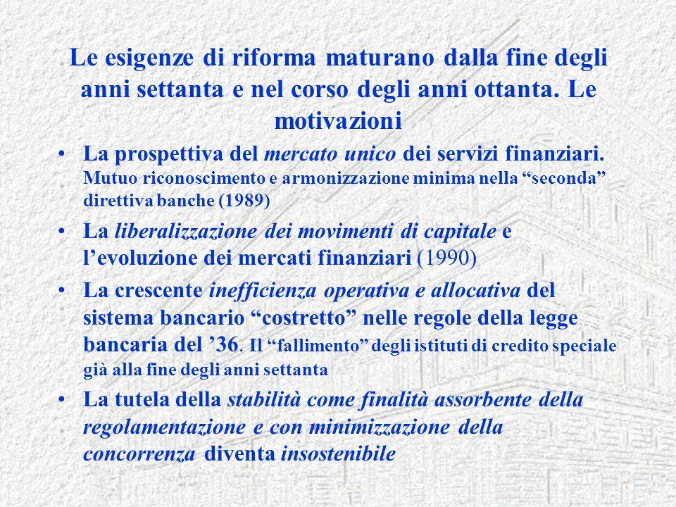 Le esigenze di riforma maturano dalla fine degli anni settanta e nel corso degli anni ottanta. Le motivazioni La prospettiva del mercato unico dei ser