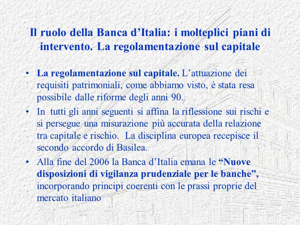 Il ruolo della Banca dItalia: i molteplici piani di intervento. La regolamentazione sul capitale La regolamentazione sul capitale. Lattuazione dei req
