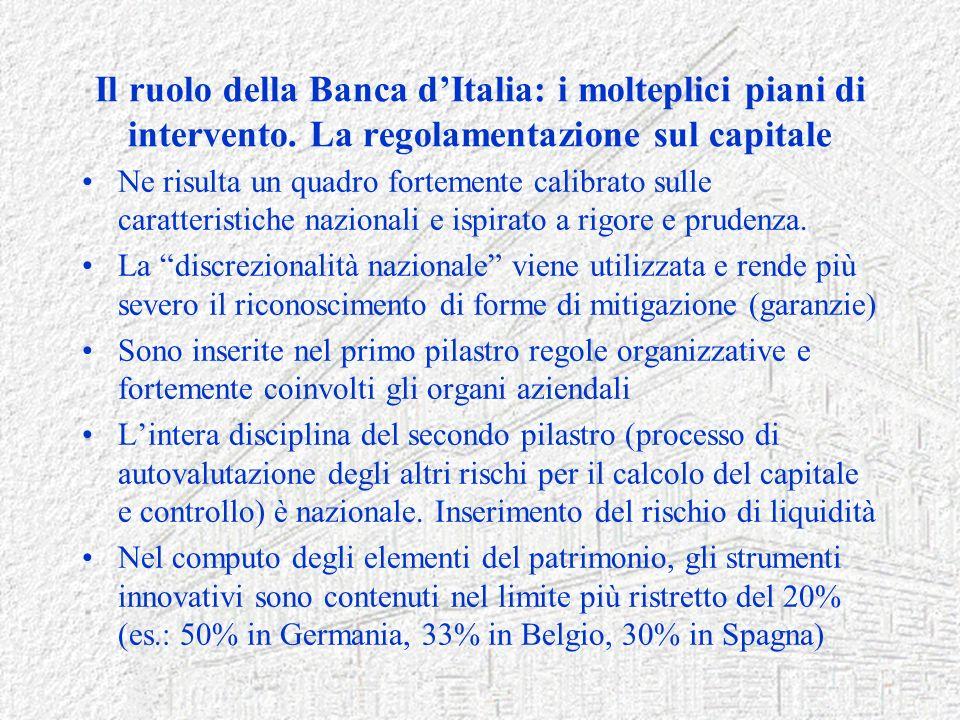 Il ruolo della Banca dItalia: i molteplici piani di intervento. La regolamentazione sul capitale Ne risulta un quadro fortemente calibrato sulle carat