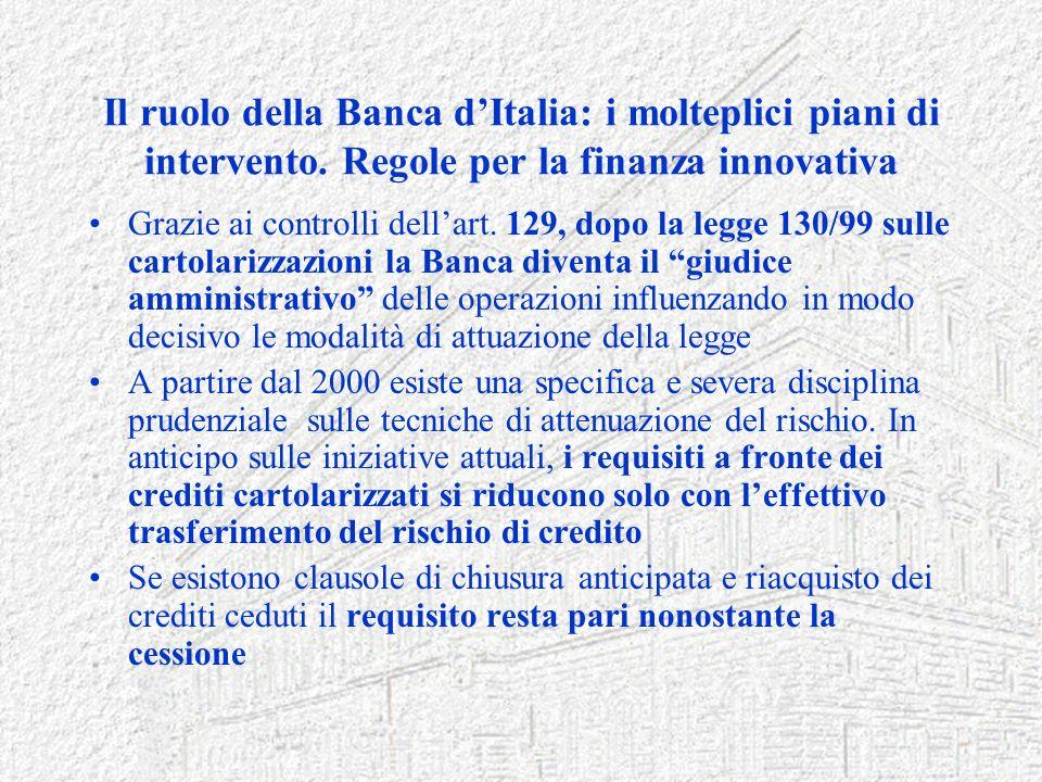 Il ruolo della Banca dItalia: i molteplici piani di intervento. Regole per la finanza innovativa Grazie ai controlli dellart. 129, dopo la legge 130/9