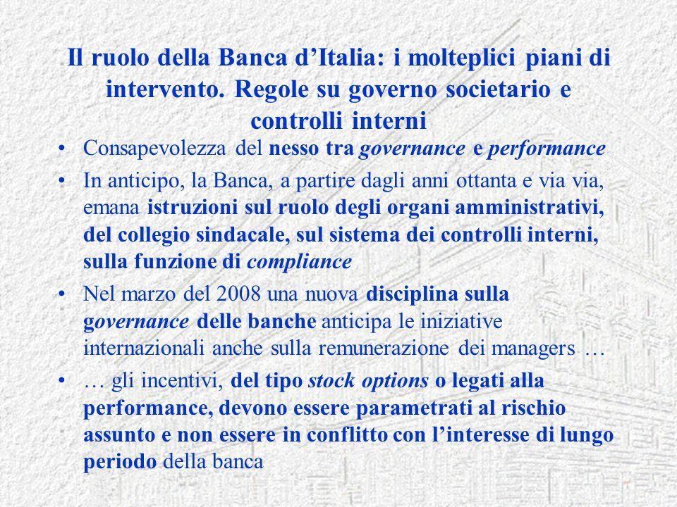Il ruolo della Banca dItalia: i molteplici piani di intervento. Regole su governo societario e controlli interni Consapevolezza del nesso tra governan