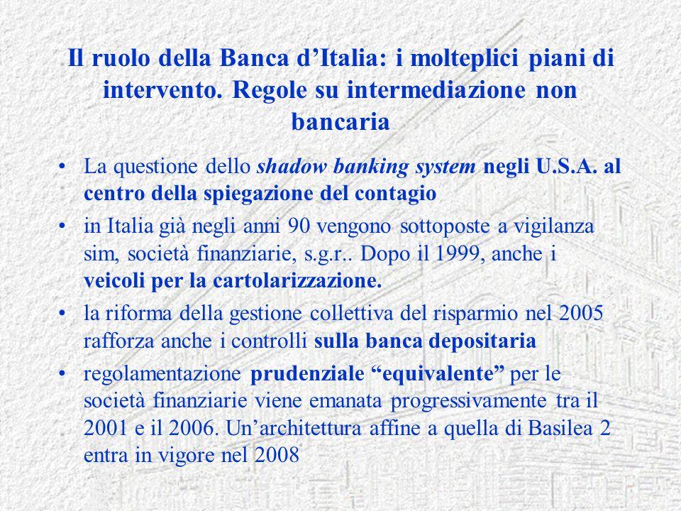 Il ruolo della Banca dItalia: i molteplici piani di intervento. Regole su intermediazione non bancaria La questione dello shadow banking system negli