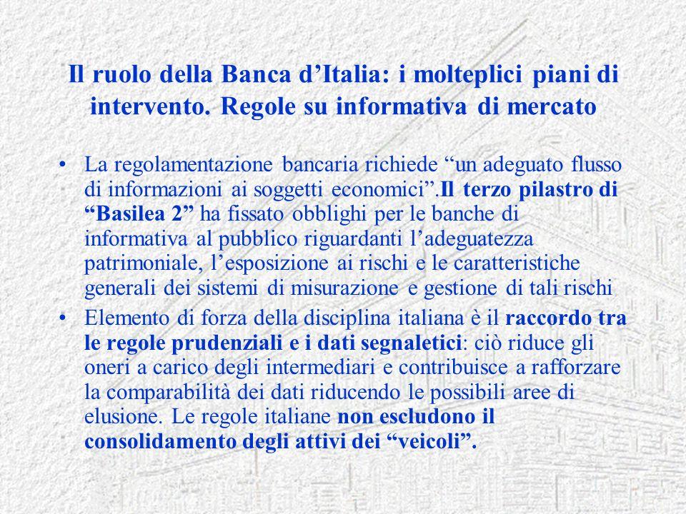 Il ruolo della Banca dItalia: i molteplici piani di intervento. Regole su informativa di mercato La regolamentazione bancaria richiede un adeguato flu