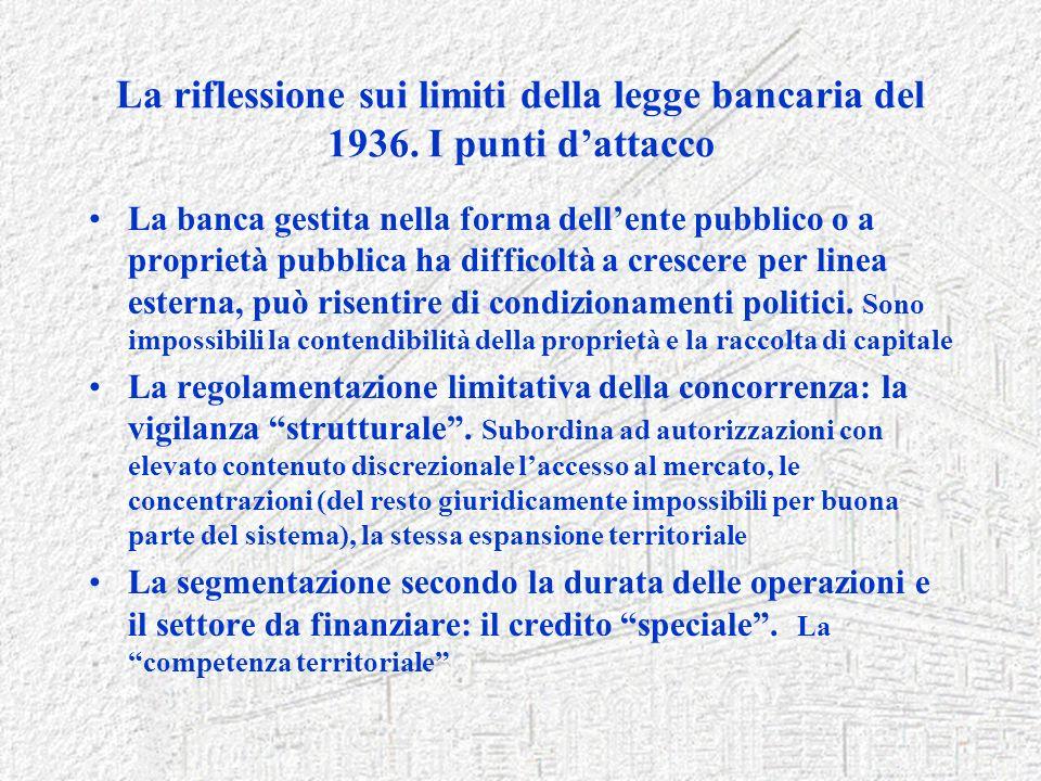 La riflessione sui limiti della legge bancaria del 1936. I punti dattacco La banca gestita nella forma dellente pubblico o a proprietà pubblica ha dif