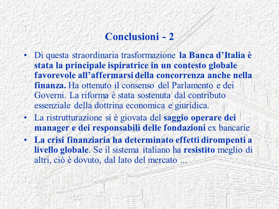 Conclusioni - 2 Di questa straordinaria trasformazione la Banca dItalia è stata la principale ispiratrice in un contesto globale favorevole allafferma