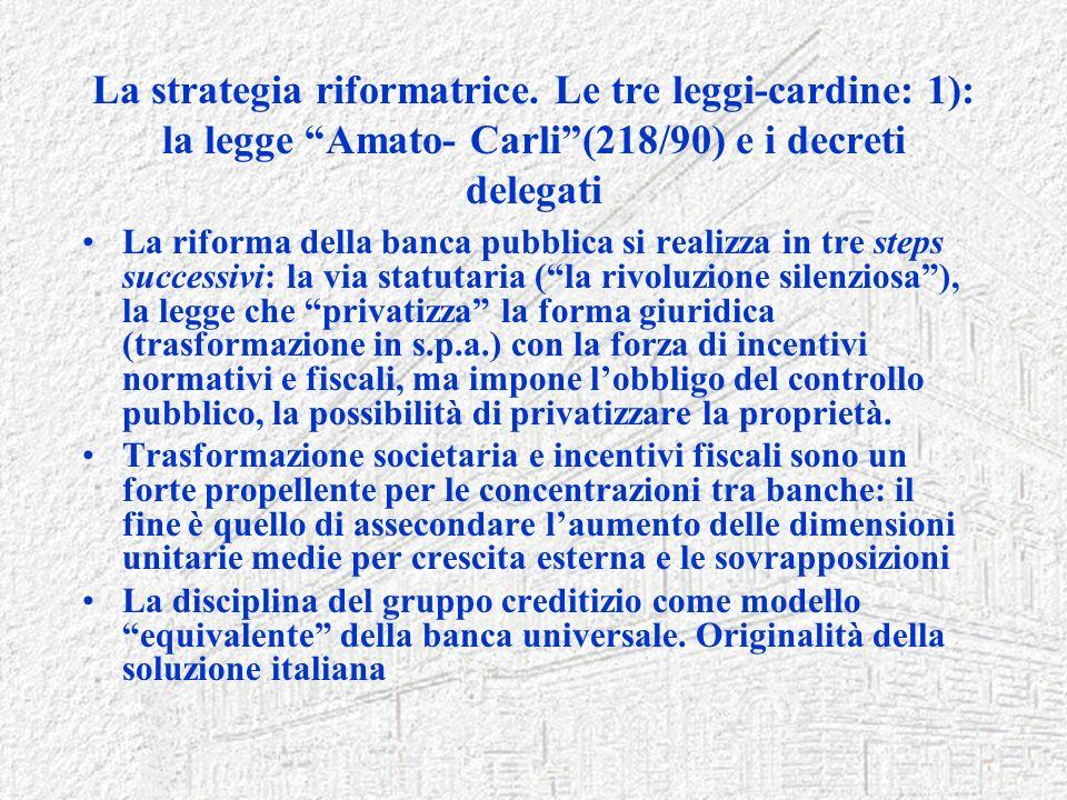 La strategia riformatrice. Le tre leggi-cardine: 1): la legge Amato- Carli(218/90) e i decreti delegati La riforma della banca pubblica si realizza in