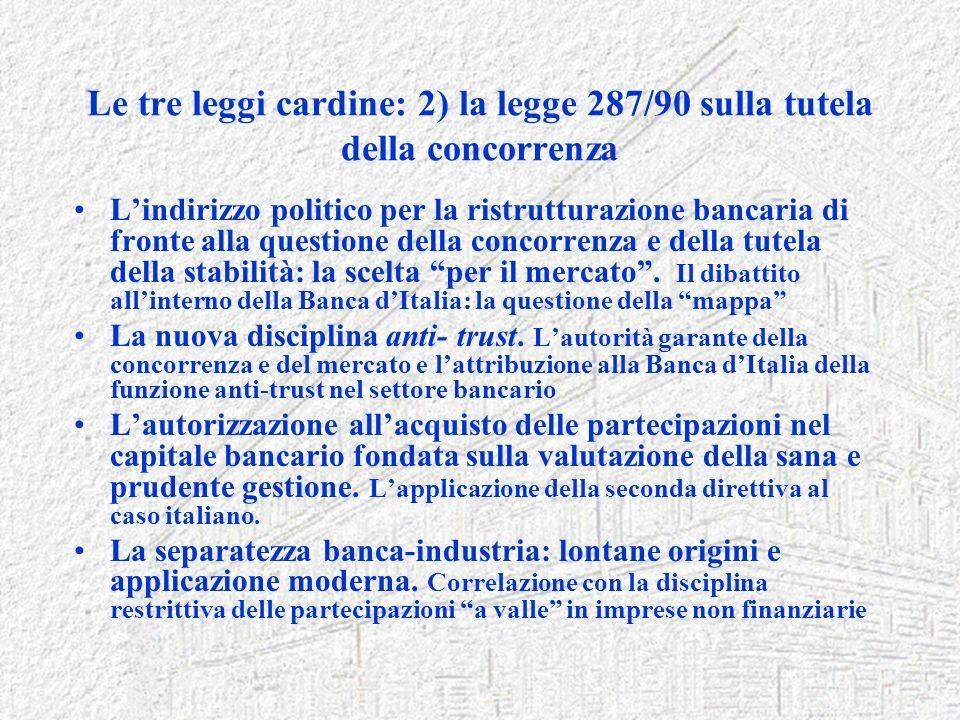 Le tre leggi cardine: 2) la legge 287/90 sulla tutela della concorrenza Lindirizzo politico per la ristrutturazione bancaria di fronte alla questione