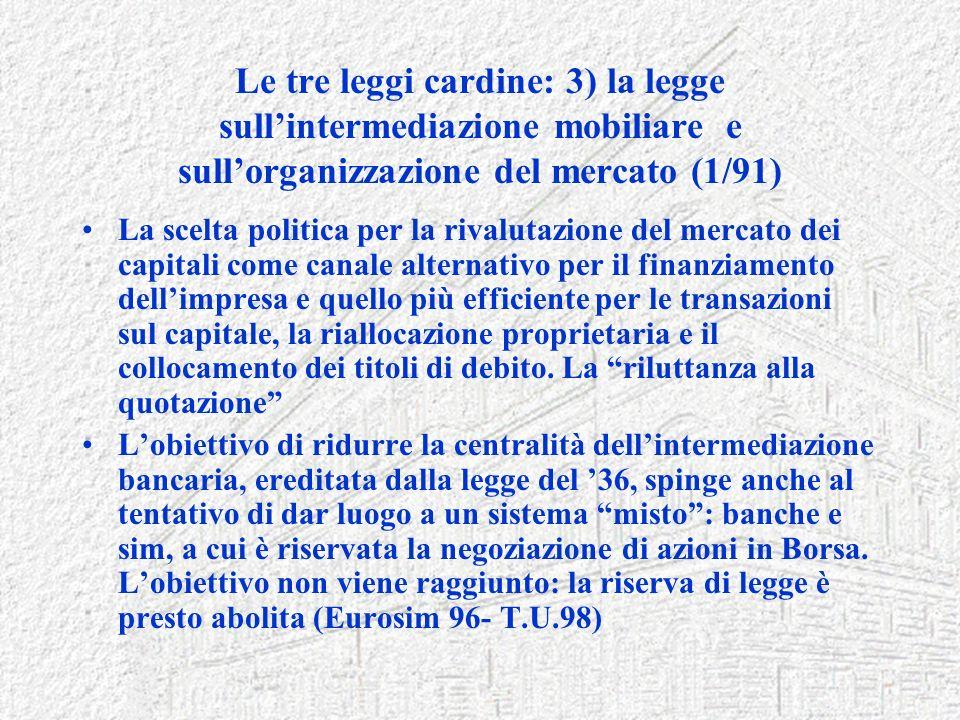 Le tre leggi cardine: 3) la legge sullintermediazione mobiliare e sullorganizzazione del mercato (1/91) La scelta politica per la rivalutazione del me