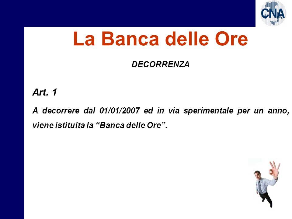La Banca delle Ore DECORRENZA Art.11 In deroga a quanto previsto dal C.C.N.L.