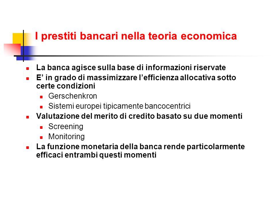 I prestiti bancari nella teoria economica La banca agisce sulla base di informazioni riservate E in grado di massimizzare lefficienza allocativa sotto