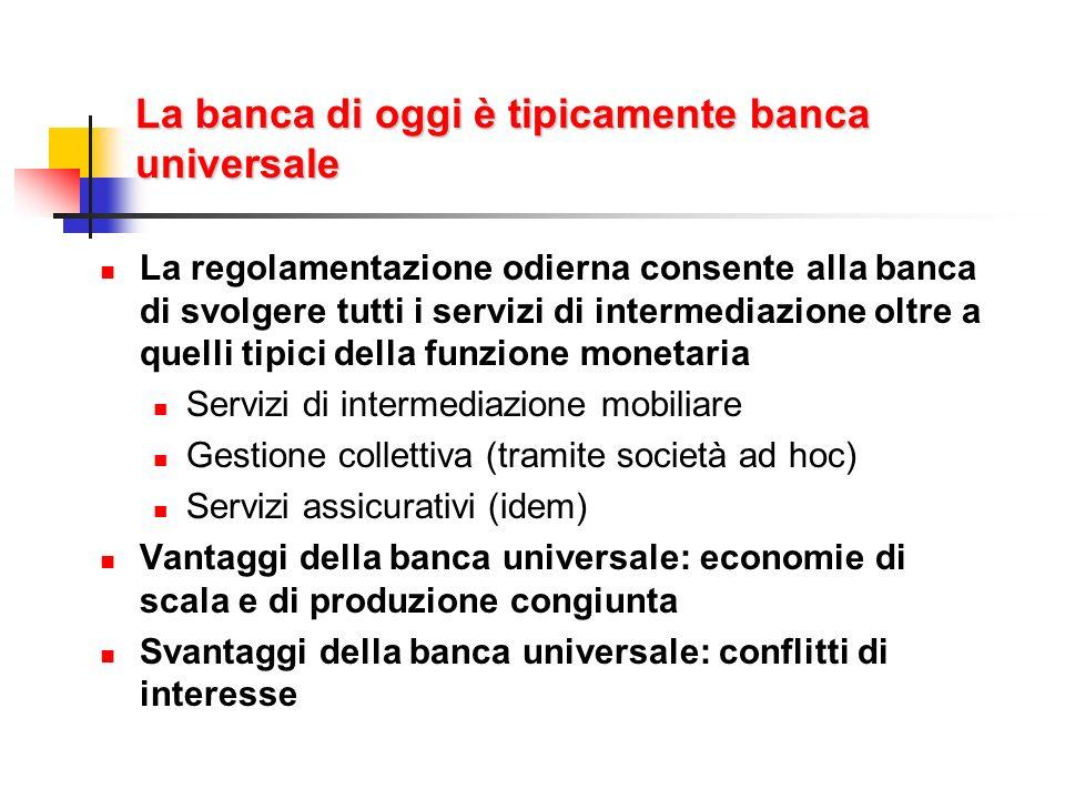 La banca di oggi è tipicamente banca universale La regolamentazione odierna consente alla banca di svolgere tutti i servizi di intermediazione oltre a