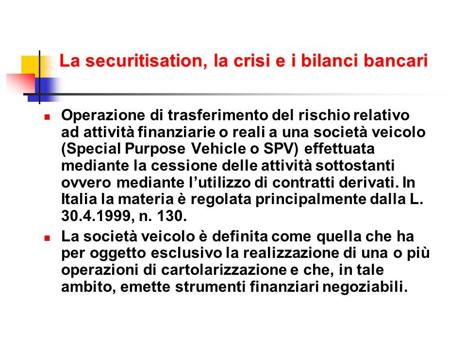 La securitisation, la crisi e i bilanci bancari Operazione di trasferimento del rischio relativo ad attività finanziarie o reali a una società veicolo