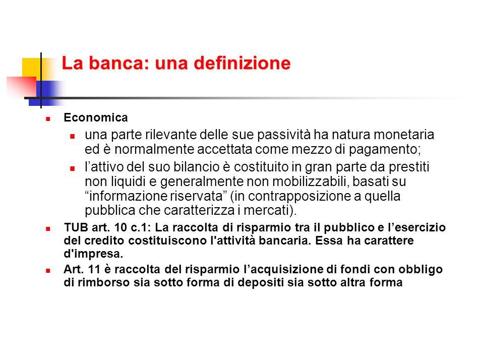 La banca: una definizione Economica una parte rilevante delle sue passività ha natura monetaria ed è normalmente accettata come mezzo di pagamento; la
